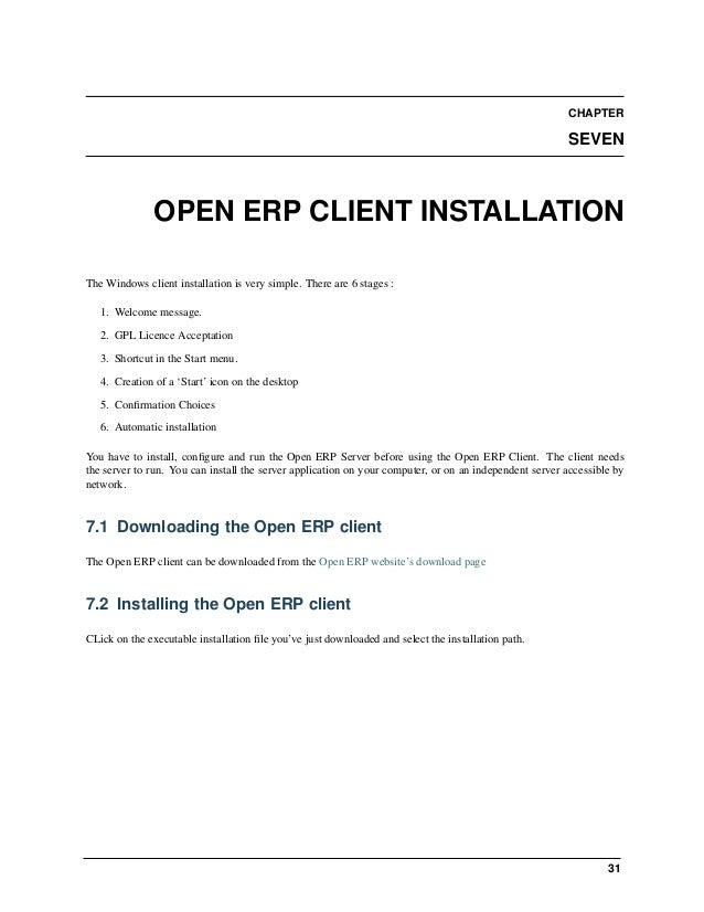 Open Object Installation Manuals, Release 1.0 34 Chapter 8. OpenERP Web Installation 8.2.1 Preparing the web server for th...