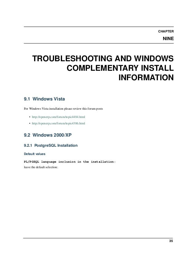 Open Object Installation Manuals, Release 1.0 38 Chapter 9. Troubleshooting and Windows Complementary Install Information ...