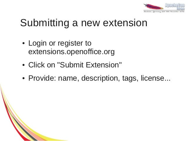 how to install extention open office