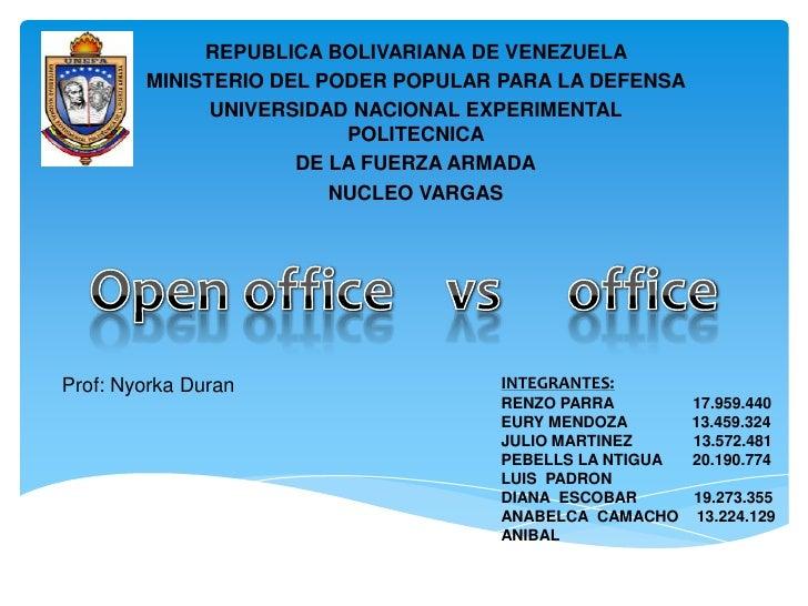 REPUBLICA BOLIVARIANA DE VENEZUELA        MINISTERIO DEL PODER POPULAR PARA LA DEFENSA              UNIVERSIDAD NACIONAL E...
