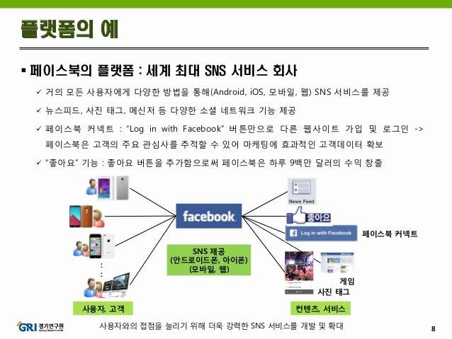 8  페이스북의 플랫폼 : 세계 최대 SNS 서비스 회사  거의 모든 사용자에게 다양한 방법을 통해(Android, iOS, 모바일, 웹) SNS 서비스를 제공  뉴스피드, 사진 태그, 메신저 등 다양한 소셜 네트...