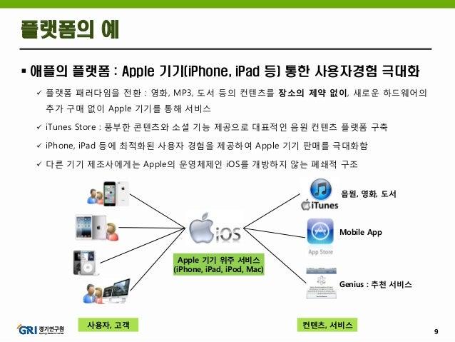 9  애플의 플랫폼 : Apple 기기(iPhone, iPad 등) 통한 사용자경험 극대화  플랫폼 패러다임을 전환 : 영화, MP3, 도서 등의 컨텐츠를 장소의 제약 없이, 새로운 하드웨어의 추가 구매 없이 App...