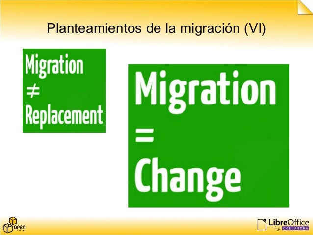 Planteamientos de la migración (VI)