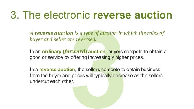 3 3. The electronic reverse auction A reverse auction is a type of auction in which the roles of buyer and seller are reve...