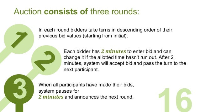t 1 In each round bidders take turns in descending order of their previous bid values (starting from initial). 16 Auction ...