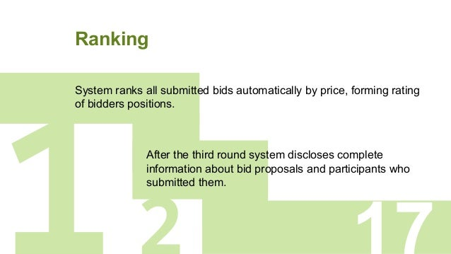 Ranking 1 System ranks all submitted bids automatically by price, forming rating of bidders positions. After the third rou...