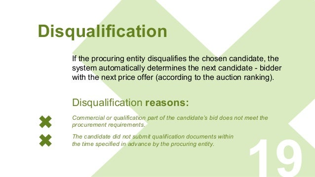 Disqualification If the procuring entity disqualifies the chosen candidate, the system automatically determines the next c...