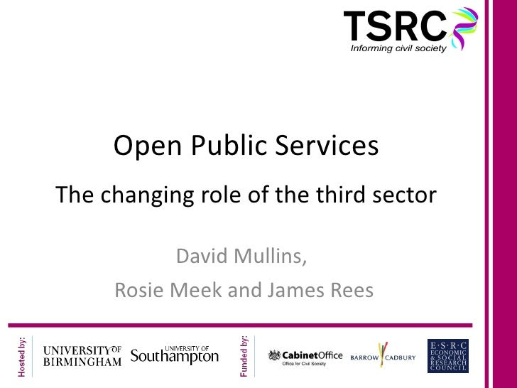 Open Public Services The changing role of the third sector David Mullins,  Rosie Meek and James Rees