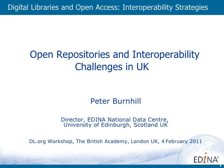 Open Repositories and Interoperability Challenges in UK  Peter Burnhill Director, EDINA National Data Centre,  Universit...