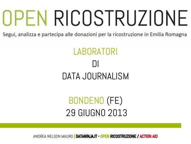 LABORATORI DI DATA JOURNALISM BONDENO (FE) 29 GIUGNO 2013 ANDREA NELSON MAURO | DATANINJA.IT - OPEN RICOSTRUZIONE / ACTION...