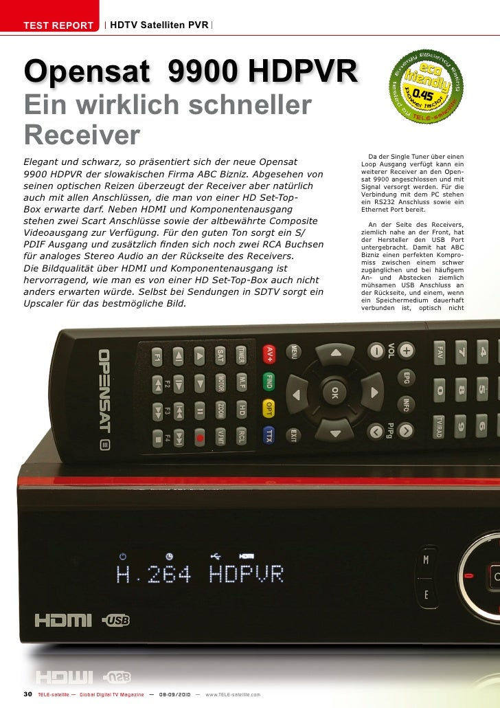 TEST REPORT                   HDTV Satelliten PVR     Opensat 9900 HDPVR Ein wirklich schneller                           ...