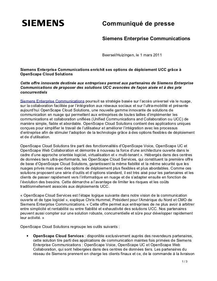 Communiqué de presse                                                  Siemens Enterprise Communications                   ...