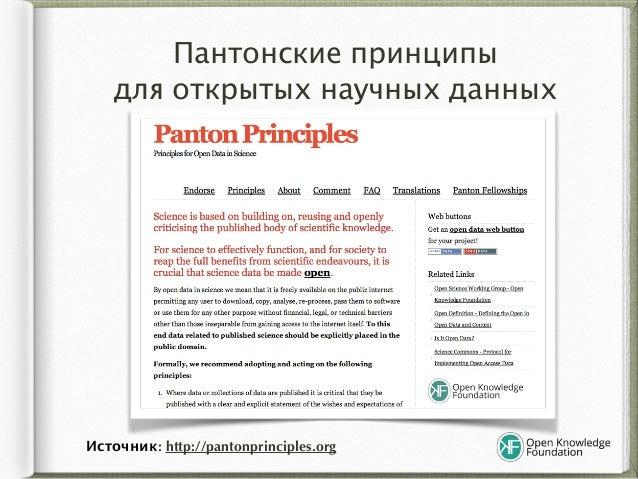 Пантонские принципы  для открытых научных данных Источник: http://pantonprinciples.org
