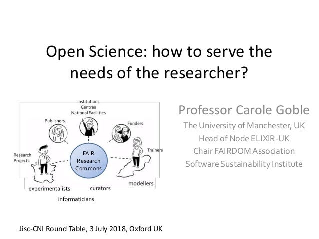 Open Science: how to serve the needs of the researcher? Professor Carole Goble The University of Manchester, UK Head of No...