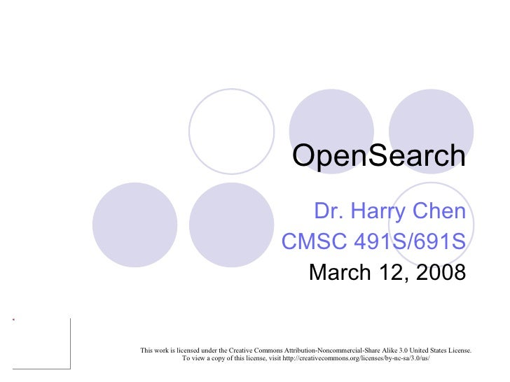 OpenSearch Dr. Harry Chen CMSC 491S/691S March 12, 2008