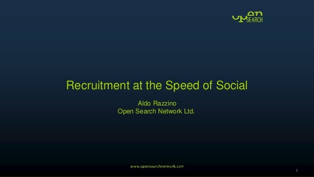 Recruitment at the Speed of Social Aldo Razzino Open Search Network Ltd. 1