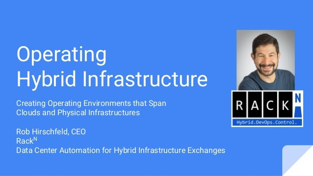 Operating Hybrid Infrastructure Creating Operating Environments that Span Clouds and Physical Infrastructures Rob Hirschfe...