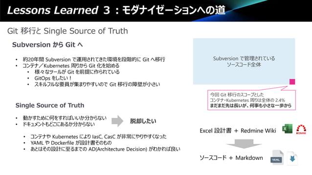 Lessons Learned 3:モダナイゼーションへの道 Git 移行と Single Source of Truth Subversion から Git へ • 約20年間 Subversion で運用されてきた環境を段階的に Git へ...