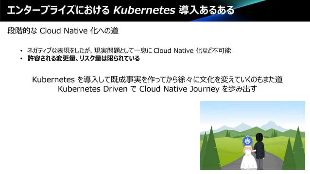 エンタープライズにおける Kubernetes 導入あるある 段階的な Cloud Native 化への道 • ネガティブな表現をしたが、現実問題として一息に Cloud Native 化など不可能 • 許容される変更量、リスク量は限られている...