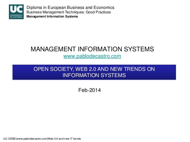 Diploma in European Business and Economics Business Management Techniques: Good Practices Management Information Systems  ...