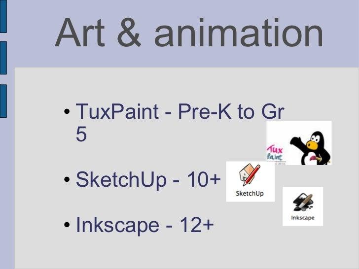 Art & animation <ul><ul><li>TuxPaint - Pre-K to Gr 5 </li></ul></ul><ul><ul><li>SketchUp - 10+ </li></ul></ul><ul><ul><li>...