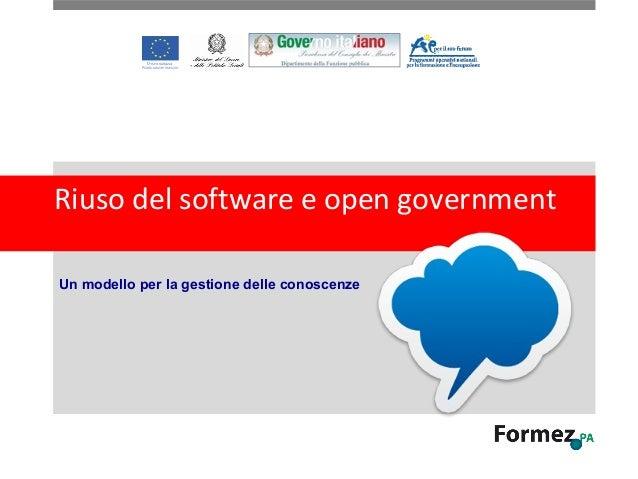Riuso del software e open government Un modello per la gestione delle conoscenze