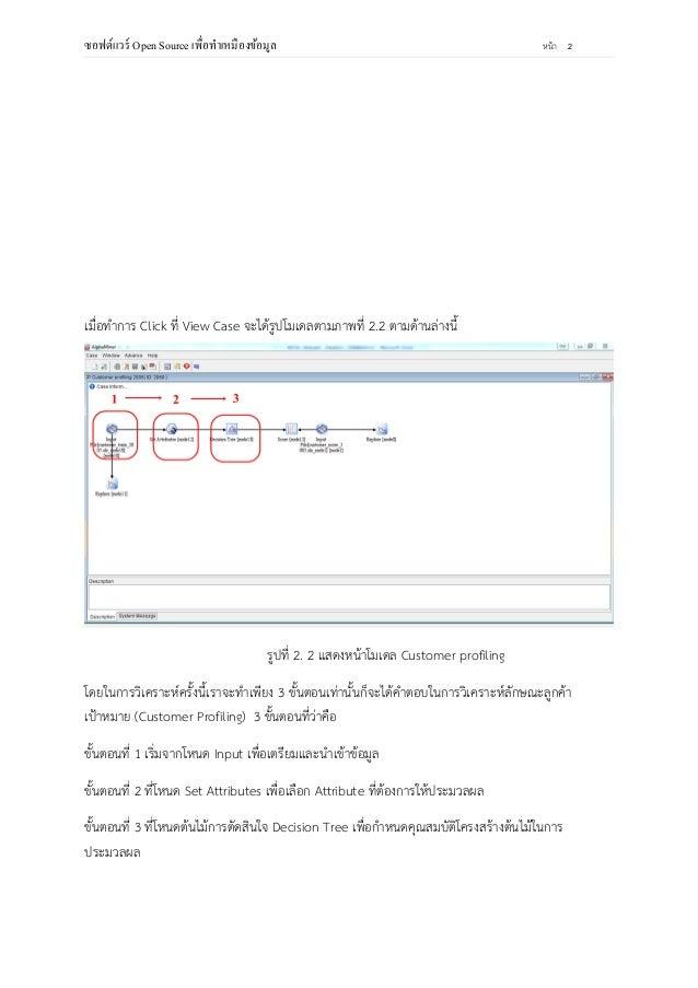 การใช้ซอฟต์แวร์ Open source (alpha miner) วิเคราะห์ลักษณะลูกค้าเป้าหมาย (customer profiling) Slide 3