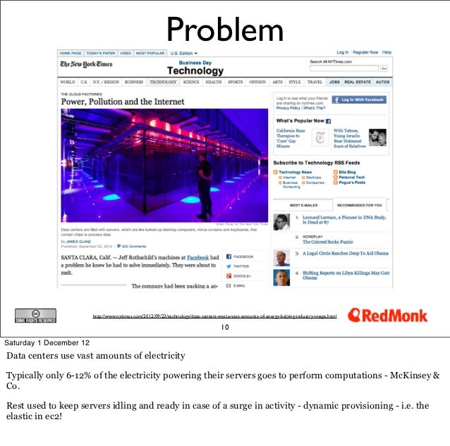 Problem                         http://www.nytimes.com/2012/09/23/technology/data-centers-waste-vast-amounts-of-energy-bel...