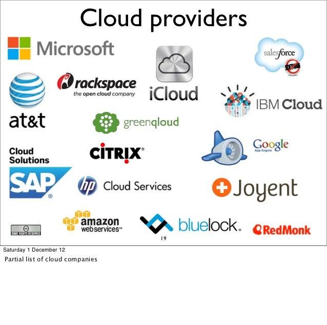 Cloud providers                                  19Saturday 1 December 12Partial list of cloud companies
