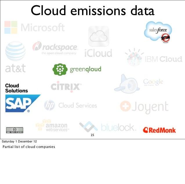 Cloud emissions data                                  25Saturday 1 December 12Partial list of cloud companies