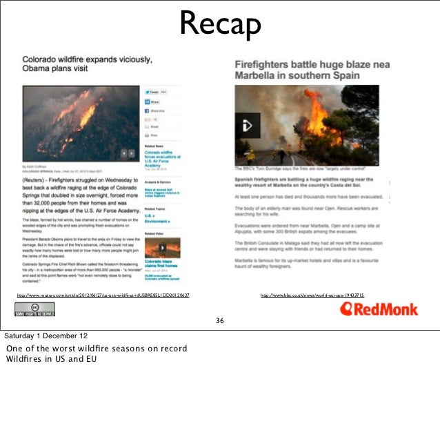 Recap   http://www.reuters.com/article/2012/06/27/us-usa-wildfires-idUSBRE85L1DD20120627        http://www.bbc.co.uk/news/w...