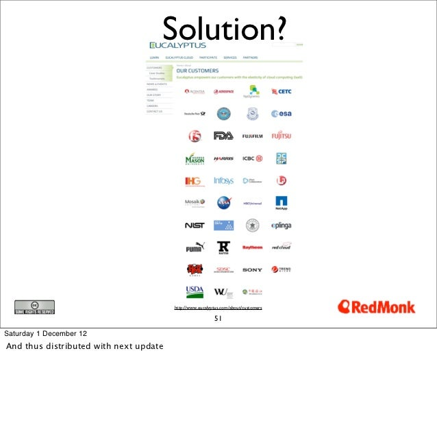 Solution?                                        http://www.eucalyptus.com/about/customers                                ...