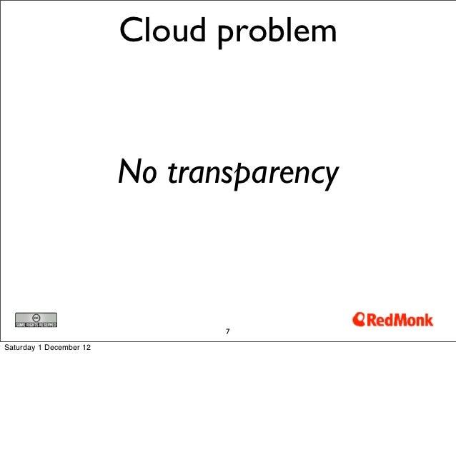 Cloud problem                         No transparency                                7Saturday 1 December 12