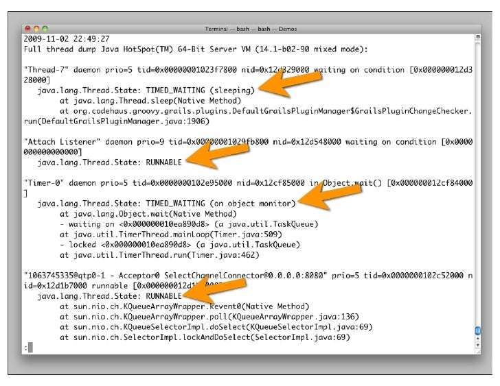 how to read java debugger info stack