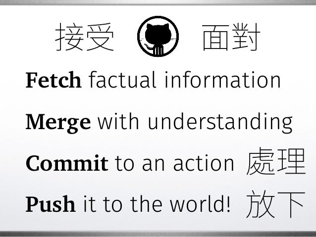 Fetch factual information Merge with understanding Commit to an action Push it to the world!