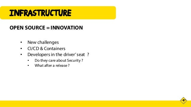 INFRAsTRUCTURE OPEN SOURCE = INNOVATION • New challenges • CI/CD & Containers • Developers in the driver'seat ? • Do they ...