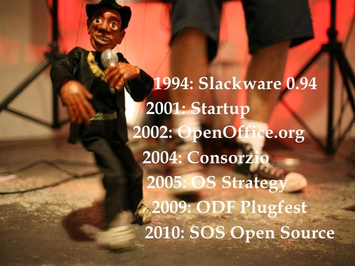 2001: Startup 1994: Slackware 0.94 2002: OpenOffice.org 2004: Consorzio 2005: OS Strategy 2009: ODF Plugfest 2010: SOS Ope...