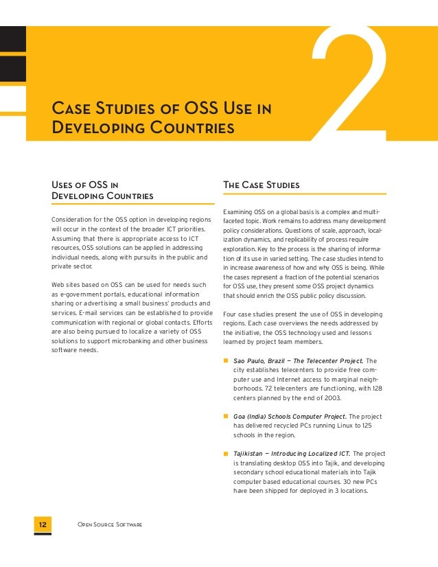 2 Case Studies of OSS Use in  Developing Countries  Uses of OSS in  Developing Countries  Consideration for the OSS option...