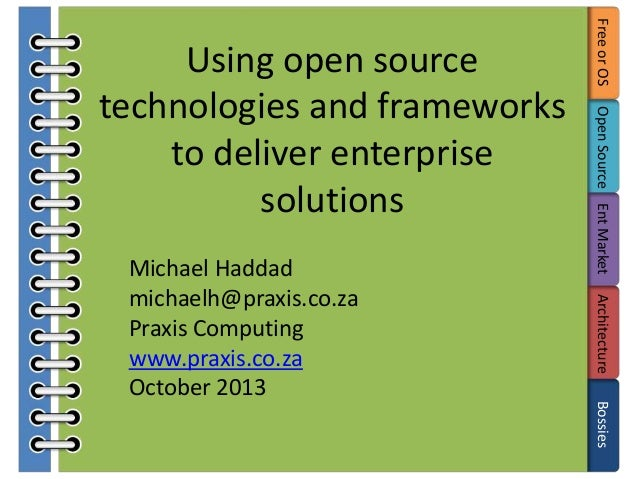 Open Source Ent Market Architecture Bossies  Michael Haddad michaelh@praxis.co.za Praxis Computing www.praxis.co.za Octobe...