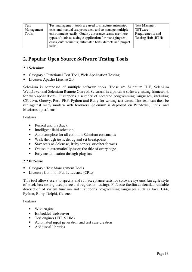 Open Source Software Testing Tools