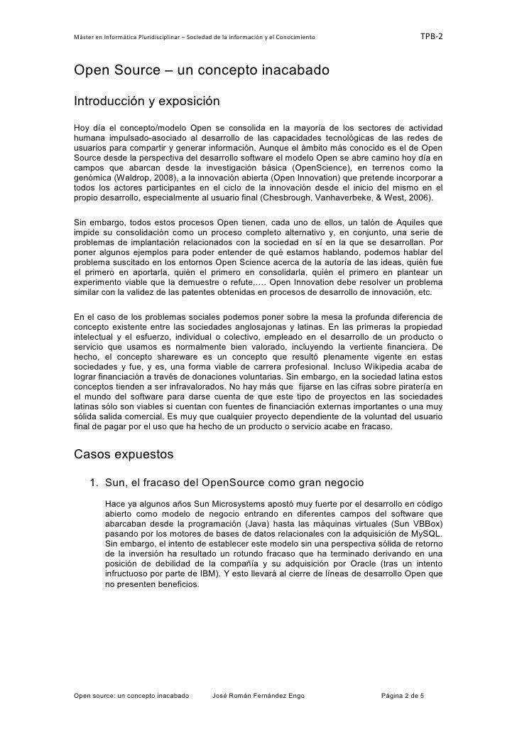 Máster en Informática Pluridisciplinar – Sociedad de la información y el Conocimiento              TPB-2Open Source – un c...