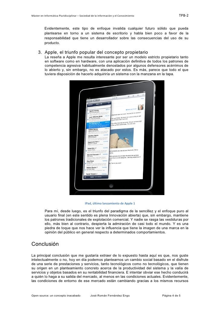 Máster en Informática Pluridisciplinar – Sociedad de la información y el Conocimiento              TPB-2          Evidente...