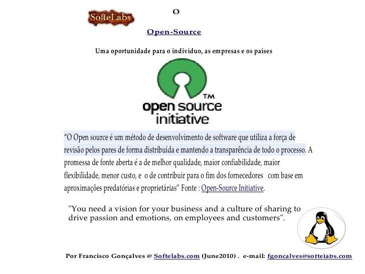 O                               Open-Source  Uma oportunidade parapara o indivíduo,as empresas os os países       Uma opor...