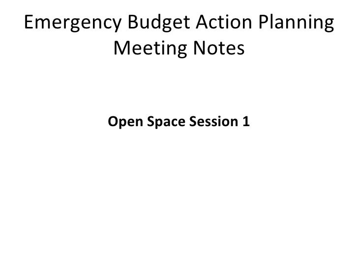 Emergency Budget Action Planning Meeting Notes <ul><li>Open Space Session 1 </li></ul>