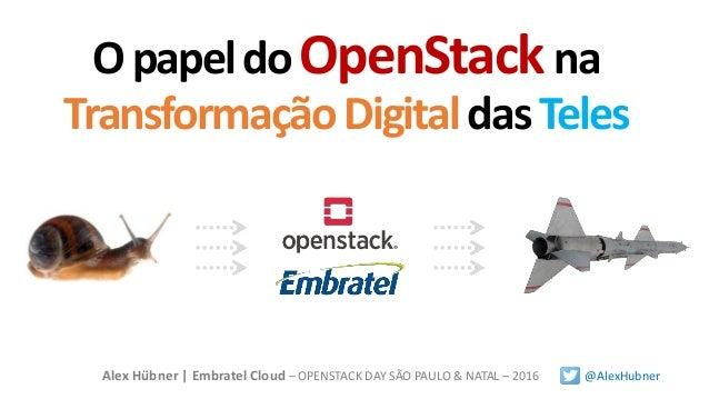 OpapeldoOpenStackna TransformaçãoDigitaldasTeles Alex Hübner | Embratel Cloud – OPENSTACK DAY SÃO PAULO & NATAL – 2016 @Al...