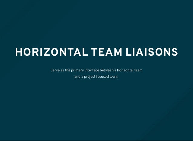 HORIZONTAL TEAM LIAISONS Serve as the primary interface between a horizontal team and a project focused team.