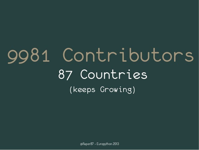 @flaper87 – Europython 2013 9981 Contributors 87 Countries (keeps Growing)