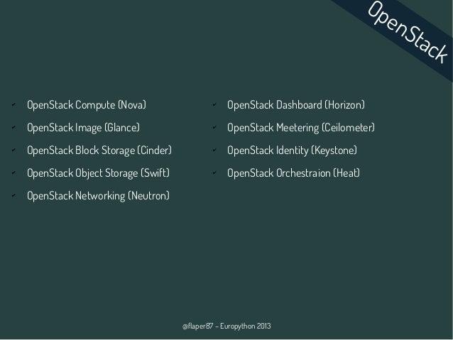 @flaper87 – Europython 2013 ✔ OpenStack Compute (Nova) ✔ OpenStack Image (Glance) ✔ OpenStack Block Storage (Cinder) ✔ Ope...