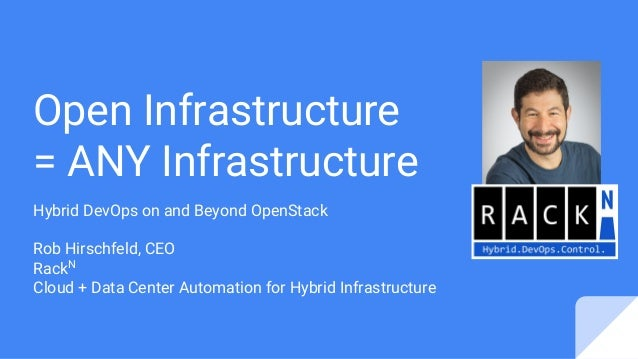 Open Infrastructure = ANY Infrastructure Hybrid DevOps on and Beyond OpenStack Rob Hirschfeld, CEO RackN Cloud + Data Cent...