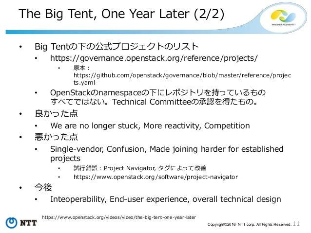 11Copyright©2016 NTT corp. All Rights Reserved. The Big Tent, One Year Later (2/2) • Big Tentの下の公式プロジェクトのリスト • https://gov...